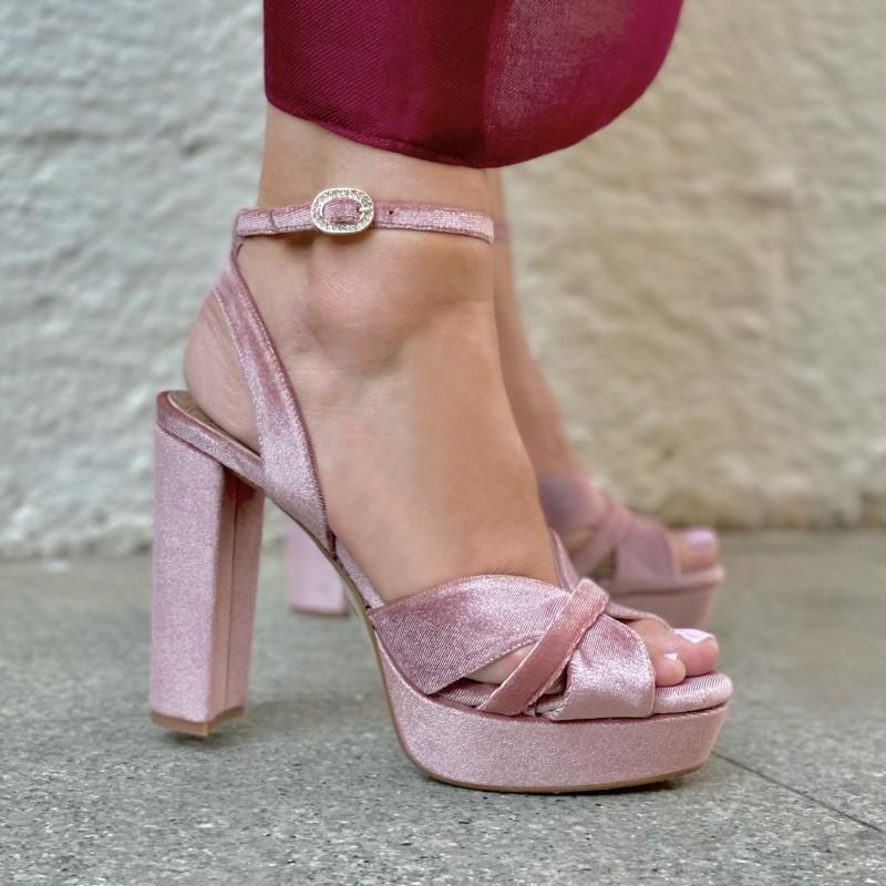 Pedro Miralles sandalia terciopelo rosa